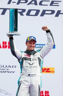 Simon Evans, Team Asia New Zealand, 3rd position, celebrates on the podium