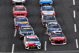 Kyle Busch, Joe Gibbs Racing, Toyota Camry M&M's Red, White & Blue and Austin Dillon, Richard Childress Racing, Chevrolet Camaro Coca-Cola Zero Sugar