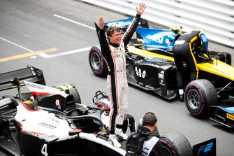 Race winner Nyck De Vries, ART Grand Prix celebrates in parc ferme