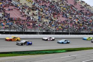 Aric Almirola, Stewart-Haas Racing, Ford Mustang Smithfield / Meijer, Joey Logano, Team Penske, Ford Mustang Shell Pennzoil, Denny Hamlin, Joe Gibbs Racing, Toyota Camry FedEx Freight, and Kevin Harvick, Stewart-Haas Racing, Ford Mustang Busch Light on a pace lap