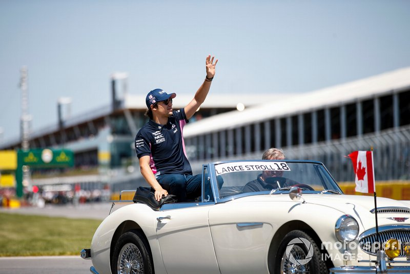 Lance Stroll, Racing Point, en el desfile de pilotos