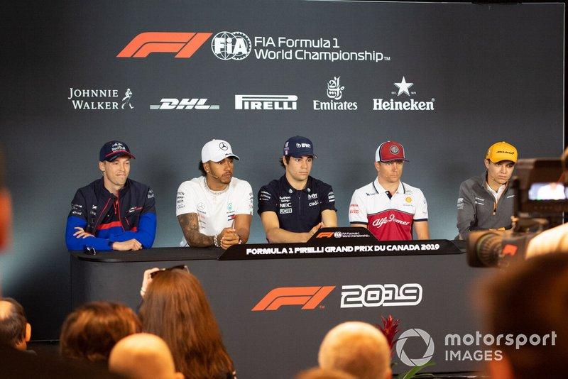 Daniil Kvyat, Toro Rosso, Lewis Hamilton, Mercedes AMG F1, Lance Stroll, Racing Point, Kimi Raikkonen, Alfa Romeo Racing et Lando Norris, McLaren