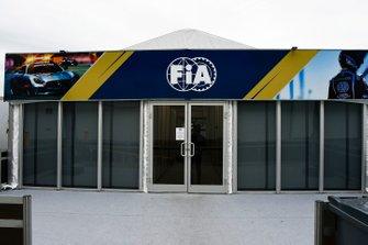An FIA pit building