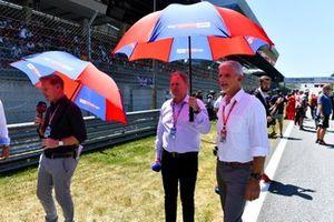 Simon Lazenby, Martin Brundle en Damon Hill, Sky Sports F1