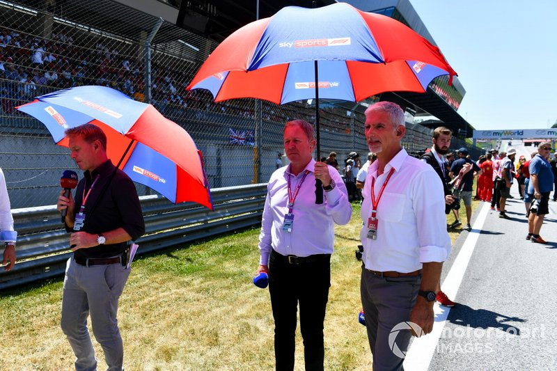 Simon Lazenby, Martin Brundle y Damon Hill, Sky Sports F1