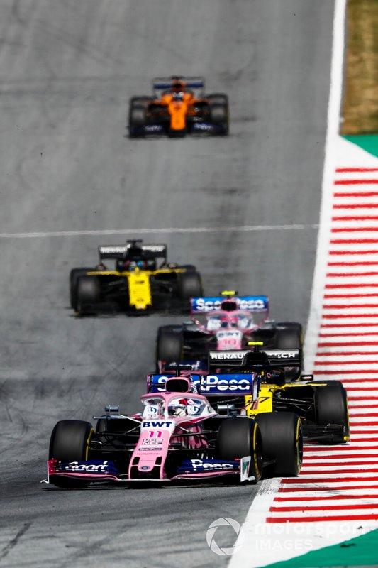 Sergio Perez, Racing Point RP19, Nico Hulkenberg, Renault F1 Team R.S. 19, Lance Stroll, Racing Point RP19, Daniel Ricciardo, Renault F1 Team R.S.19, Carlos Sainz Jr., McLaren MCL34