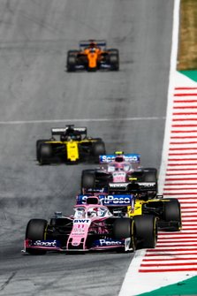 Sergio Perez, Racing Point RP19, leads Nico Hulkenberg, Renault F1 Team R.S. 19, Lance Stroll, Racing Point RP19, Daniel Ricciardo, Renault F1 Team R.S.19, and Carlos Sainz Jr., McLaren MCL34