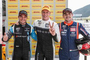 Pole sitter Thed Björk, YMR Hyundai, second place Frédéric Vervisch, Audi Sport Team, third place Norbert Michelisz, BRC Racing Team