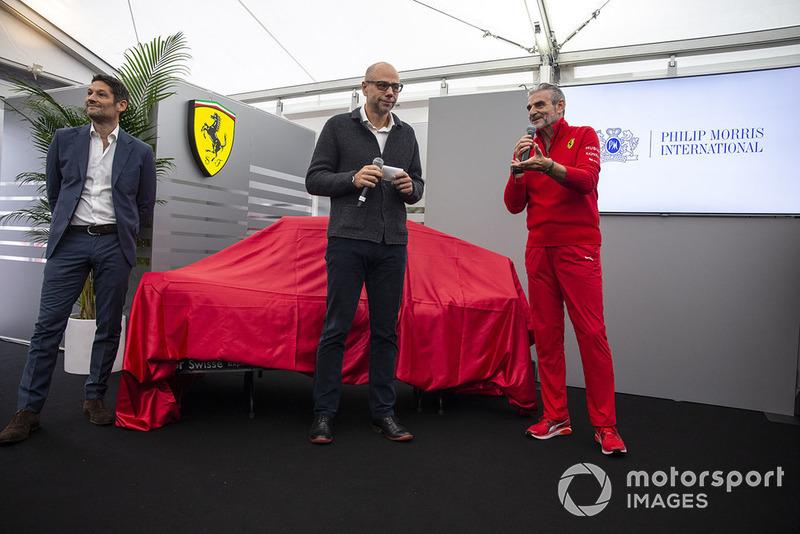Maurizio Arrivabene, Team Principal, Ferrari, al lancio della nuova livrea Ferrari