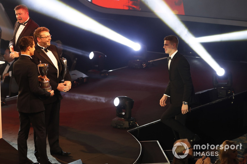 McLaren Autosport BRDC Award winner Tom Gamble on stage with Lando Norris
