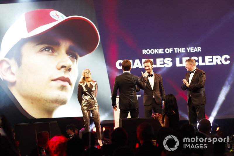 Rookie of the Year award winner Charles Leclerc on stage with Jean-Eric Vergne