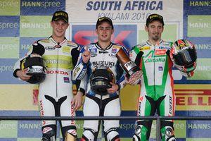 Podium: Race winner Leon Haslam, Team Suzuki Alstare, second place Jonathan Rea, HANNspree Ten Kate Honda, third place Max Biaggi, Aprilia Alitalia Racing