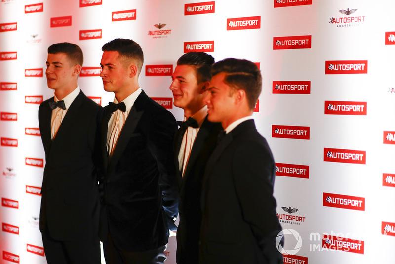 """I candidati al """"McLaren Autosport BRDC Award"""" Jamie Caroline, Tom Gamble, Max Fewtrell e Kiern Jewiss"""