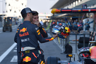 Daniel Ricciardo, Red Bull Racing with helmet and Max Verstappen, Red Bull Racing