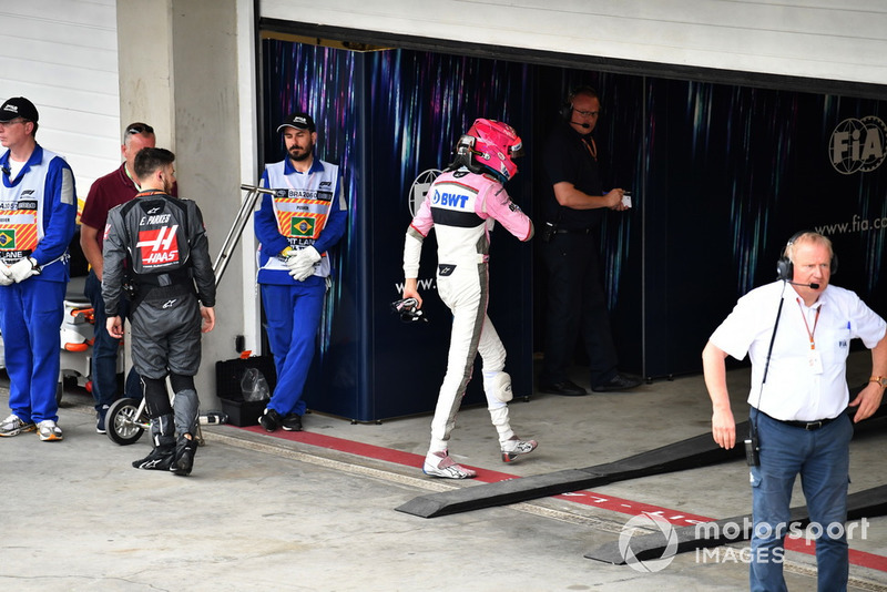 Esteban Ocon, Racing Point Force India in Parc Ferme