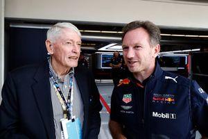 John Malone, Chairman, Liberty Media, with Christian Horner, Team Principal, Red Bull Racing