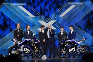 Sky Racing Team 2019: Luca Marini, Nicolò Bulega, Dennis Foggia, Celestino Vietti Ramus, mit Francesco Bagnaia und Guido Meda