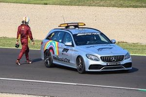 The Medical car picks up Sebastian Vettel, Ferrari