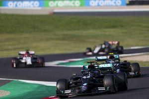 Lewis Hamilton, Mercedes F1 W11, Valtteri Bottas, Mercedes F1 W11, and Kimi Raikkonen, Alfa Romeo Racing C39