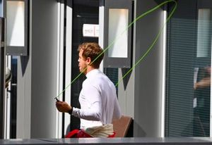 Sebastian Vettel, Ferrari, warms up