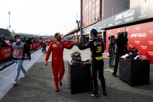 Sebastian Vettel, Ferrari and Daniel Ricciardo, Renault F1 celebrate in Parc Ferme