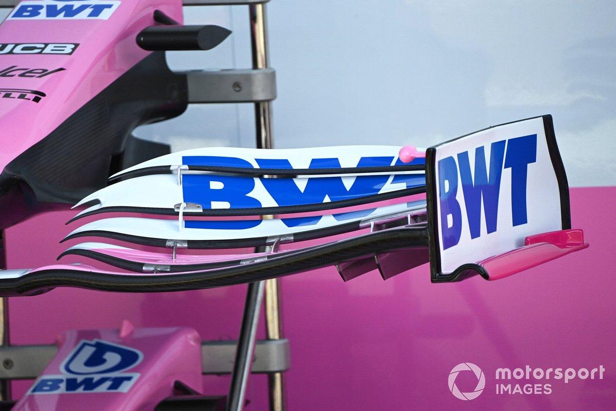 Detalle del alerón delantero de Racing Point RP20