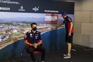 Alex Albon, Red Bull Racing and Max Verstappen, Red Bull Racing in the press conference