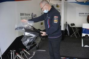 Shaun Muir, BMW Motorrad WorldSBK Team holding the new front fairing for the BMW S1000RR for next year
