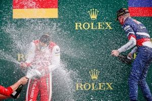 Mick Schumacher, Prema Racing and Race Winner Robert Shwartzman, Prema Racing celebrate on the podium with the champagne