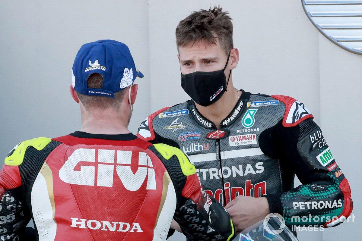 Tercer puesto Cal Crutchlow, Team LCR Honda, ganador de la pole Fabio Quartararo, Petronas Yamaha SRT