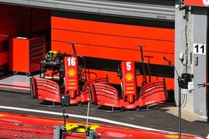Front wing set ups outside the Ferrari garage