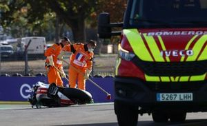 The bike of Mattia Casadei, Ongetta SIC58 Squadracorse after the crash