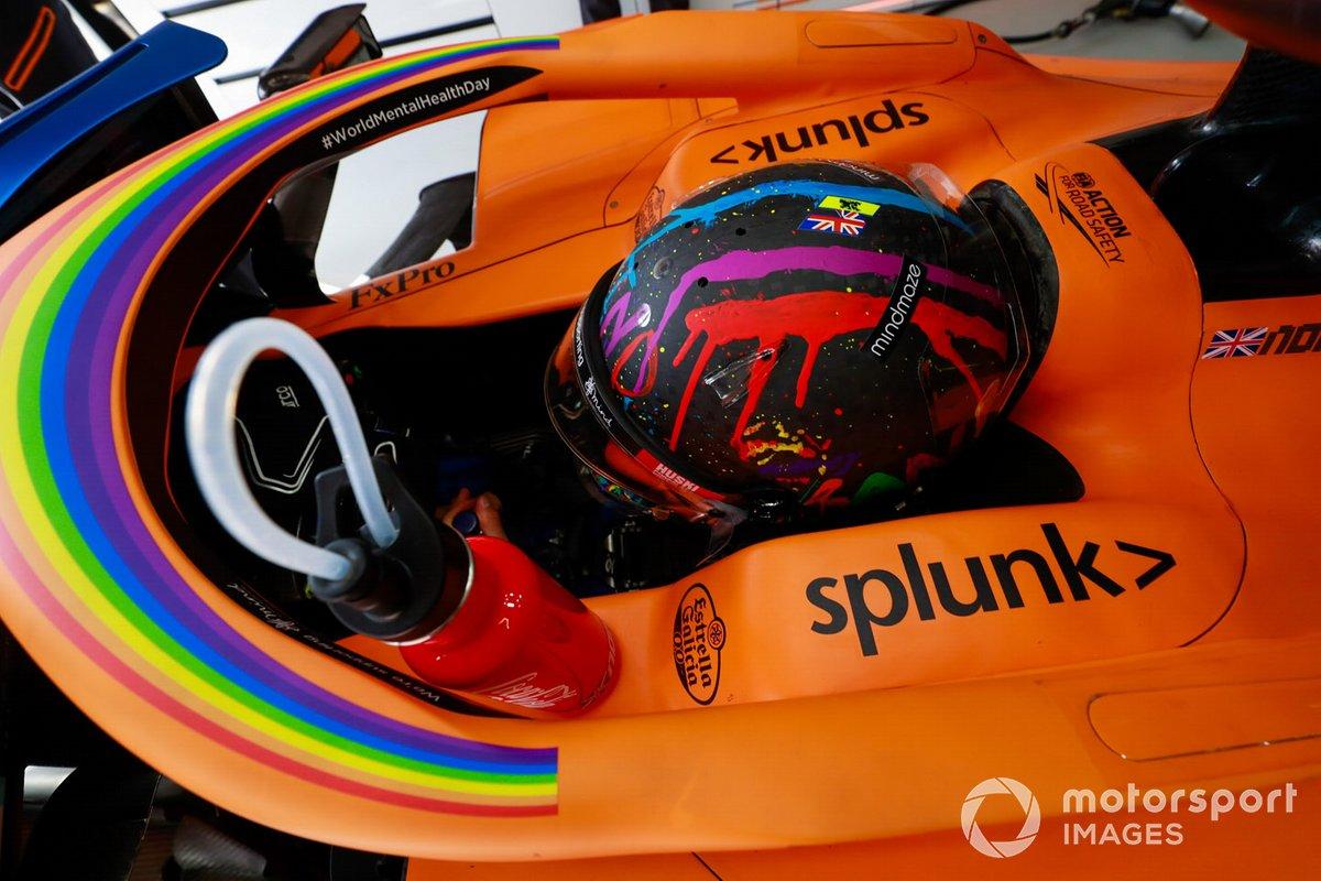 El casco especial de Lando Norris, McLaren. ¡Pasa las fotos para ver más!