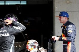 Pole man Lewis Hamilton, Mercedes-AMG F1, is congratulated by Max Verstappen, Red Bull Racing