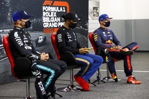 Valtteri Bottas, Mercedes-AMG F1, pole starter Lewis Hamilton, Mercedes-AMG F1, and Max Verstappen, Red Bull Racing, in the post Qualifying Press Conference