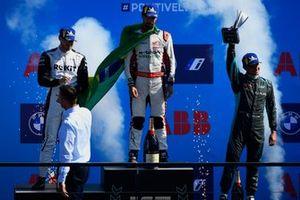 Edoardo Mortara, Venturi Racing, 2nd position, Lucas Di Grassi, Audi Sport ABT Schaeffler, 1st position, Mitch Evans, Jaguar Racing, 3rd position, on the podium