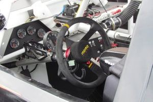 Steering and dashboard detail of a Nascar Pinty's car