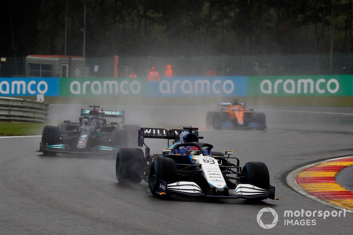 George Russell, Williams FW43B, Sir Lewis Hamilton, Mercedes W12, Daniel Ricciardo, McLaren MCL35M