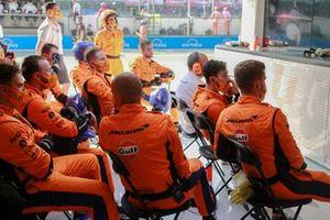 The McLaren pit crew in the garage