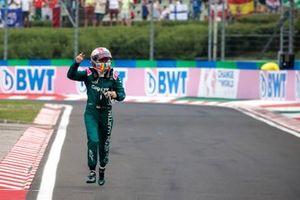 Sebastian Vettel, Aston Martin, 2nd position, arrives in Parc Ferme on foot