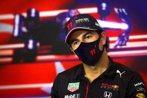 Sergio Perez, Red Bull Racing tijdens de persconferentie