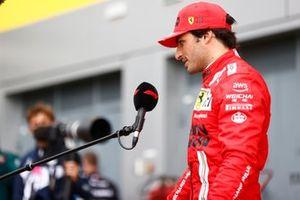 Carlos Sainz Jr., Ferrari, 3rd position, is interviewed after the race