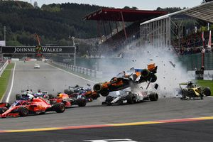 Fernando Alonso, McLaren MCL33 crashes and gets airbourne at the start of the race