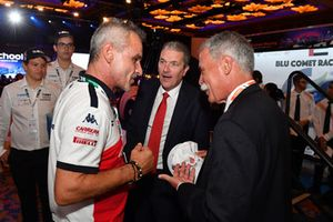 Beat Zehnder, Alfa Romeo Sauber F1 Team Manager, Andrew Denford, F1 in Schools and Chase Carey, Chief Executive Officer and Executive Chairman of the Formula One Group