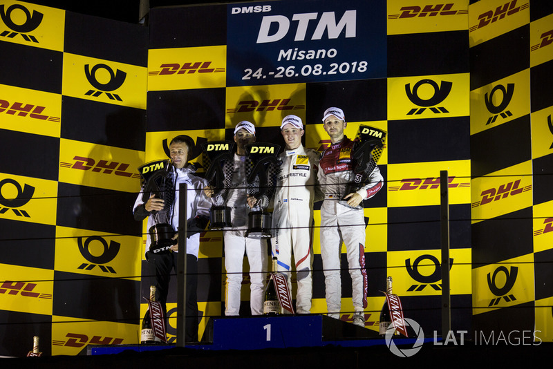 Podium: Race winner Joel Eriksson, BMW Team RBM, second place Edoardo Mortara, Mercedes-AMG Team HWA and third place René Rast, Audi Sport Team Rosberg