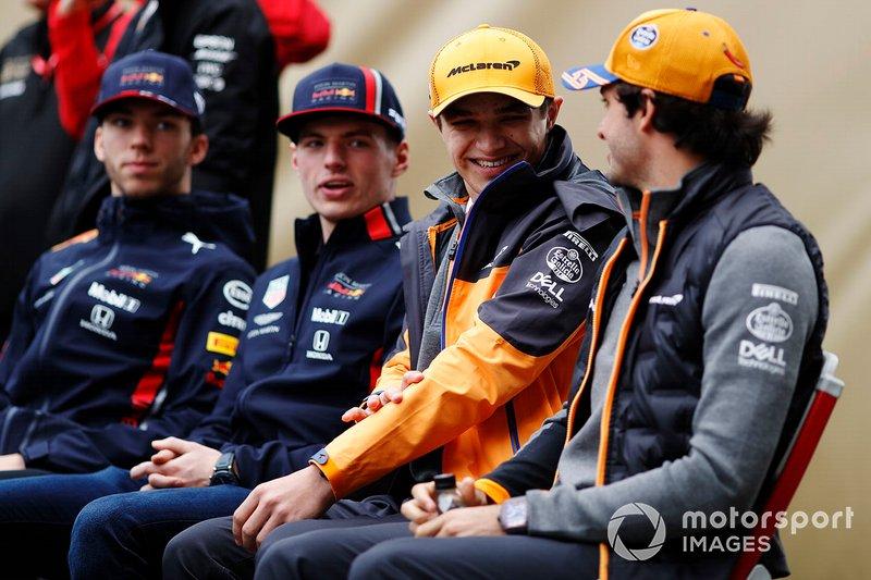 Pierre Gasly, Red Bull Racing, Max Verstappen, Red Bull Racing, Lando Norris, McLaren, e Carlos Sainz Jr., McLaren