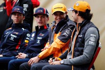 Pierre Gasly, Red Bull Racing, Max Verstappen, Red Bull Racing, Lando Norris, McLaren, and Carlos Sainz Jr., McLaren