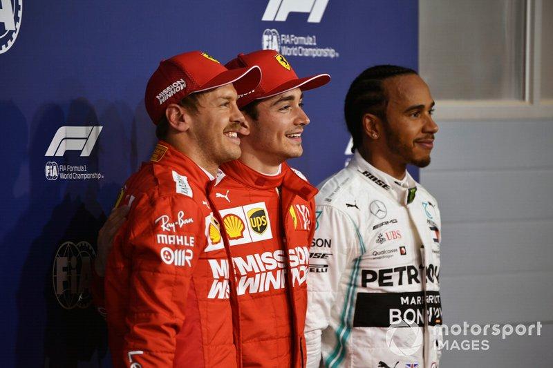 Top three Qualifiers Sebastian Vettel, Ferrari, pole man Charles Leclerc, Ferrari, and Lewis Hamilton, Mercedes AMG F1