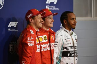 Top three Qualifiers Sebastian Vettel, Ferrari, pole man Charles Leclerc, Ferrari, and Lewis Hamilton, Mercedes AMG F1