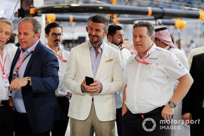 David Beckham con Zak Brown, Director Ejecutivo de McLaren